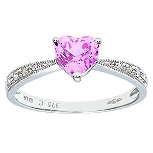 Naava 9 ct White Gold Women's Diamond and Pink Cublic Zironia Ring
