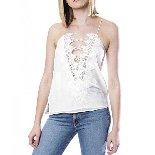 LQKA-EU Femme V-Neck Sans Manches Bretelle Épaules Dénudées Dentelle Mode Porter des deux côtés Couleur Pure Caraco Gilet Vest Haut Top Blouse Tops Blanc