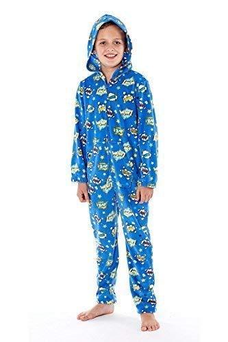 Bambini morbido pile cappuccio zip up tutina pigiama con stampa - fumetto - blu, 7-8 anni