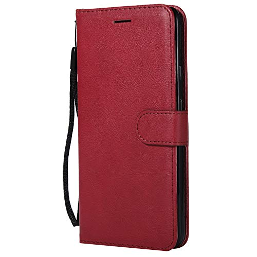 Price comparison product image FNBK Google Pixel XL 2 Case Wallet,  Google Pixel XL 2 Phone Case with Card Holder,  Google Pixel XL 2 Case Front and Back Protection Premium Leather Flip Folio Case with Strap Card Slot Red Cover
