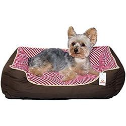 Stinky G cama del perro rayas oblicuas 100% algodón (pequeño 50 x 40 cm, rojo)