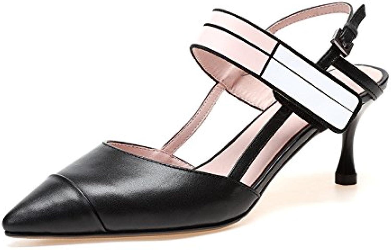 dkfjki talon creux en des sandales en creux cuir fines sandales à talons de chaussures de femme mélangé couleur petite bouche baotou b07cg2xhzq parent 03d8a8