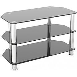 Petit meuble TV en verre Noir brillant 60 cm de large, convient pour écrans LCD LED TV 20–40 cm