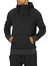 Converse Homme Détail tissé Half Zip Logo Hoodie, Noir