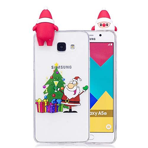 Shengheng Custodia Samsung Galaxy A5 2016 SM-A510F,Cover in Silicone Custodia Trasparente di Flessibile Antiscivolo di Natale Custodia in Sottile in Gomma - Babbo Natale con Regalo