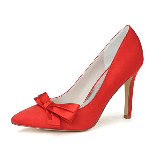 Le scarpe eleganti dello stiletto del tallone delle donne calzano il nodo dell'arco di torsione Red