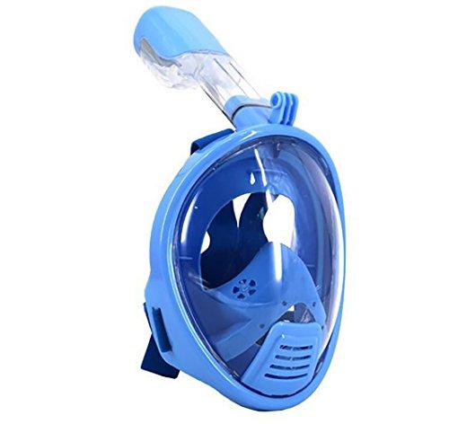 KepooMan 180° Panorama Schnorchel Maske mit Anti-Beschlag Beschichtung und gebogener Oberfläche (XS für Kind,Blau)