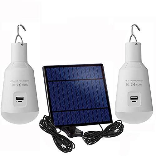 Tragbare Solar-LED-Lampe, 2 Stück, 7 W, E27-Sockel, wiederaufladbar, Notfall-Leuchtmittel für drinnen und draußen, Camping, Zeltbeleuchtung (weiß-7 W)
