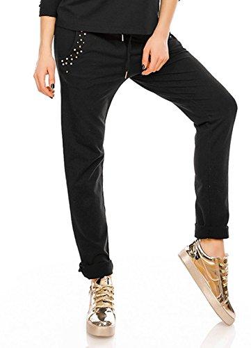 Damen Jersey Hose Freizeithose Sporthose Jogginghose Sweathose Schwarz Lang Abbildung 3