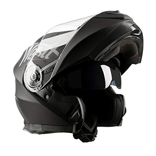 Westt® Torque X · Casco Moto Modular con Doble Visera para Ciclomotor Motocicleta y Scooter · Cascos de Moto Modulares Mujer y Hombre en Negro Mate · ECE Homologado