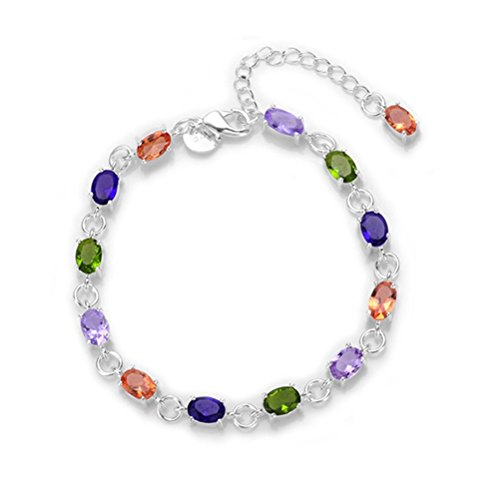 NYKKOLA New Fashion Jewelry Classic 925 Beautiful Colorful Crystal Mosaic Solid Sterling Silver plated Bracelet
