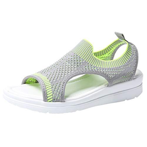 Große Größe Mesh Sandalen für Frauen/Dorical Damen Mädchen Atmungsaktiv Komfort Aushöhlen, Lässige Sommer Wedges Tuch Schuhe Frau Keil Peep Toe Sandals 35-45 EU(Hellgrün,45 EU)