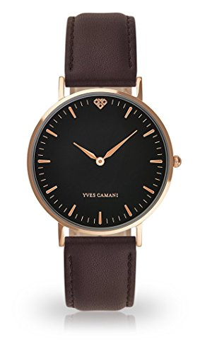 Yves Camani Amelie donna orologio da polso al quarzo analogico Rosegold quadrante cassa in acciaio nero–in pelle (marrone)