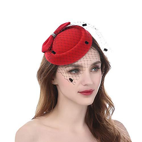 Haifly Vintage Bowknot Schleier Hut Side Clip Mini Top Hat Pillendose Hut Party Kopfschmuck für Damen, Damen, rot