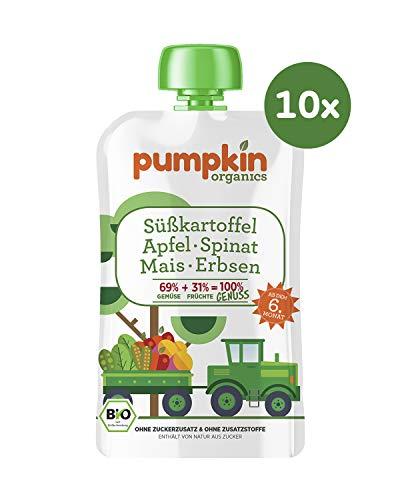 Pumpkin Organics GENUSS Bio Gemüse Quetschies aus Süßkartoffel, Spinat, Mais, Erbsen und Apfel (10 x 100g) I Babynahrung ab dem 6. Monat