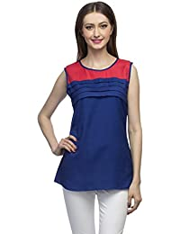 0873790e0cb indietoga Designer Blue Pleated Red Yoke Sleeveless Round Hemline Rayon Top  for Girls