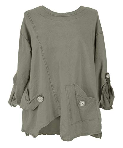 TEXTURE Ladies Womens Italian Lagenlook Long Sleeve Tab Button Detail Cotton Top Blouse Sweatshirt One Size (One Size, Khaki) Boxy-jersey Sweatshirt