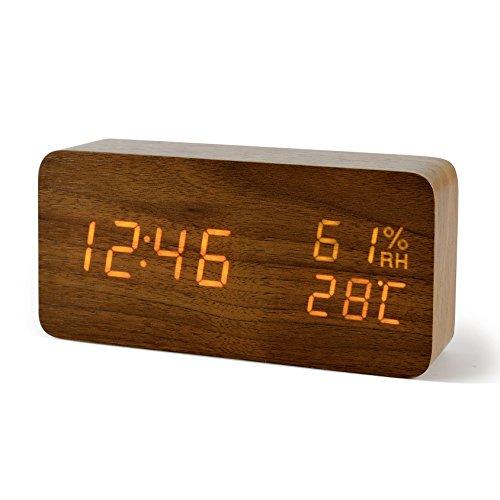 FIBISONIC LED Holz Wecker Modern Tischuhr Klein Standuhr Datum/Temperatur/Feuchtigkeit Anzeige Digital Wecker Braun Orange