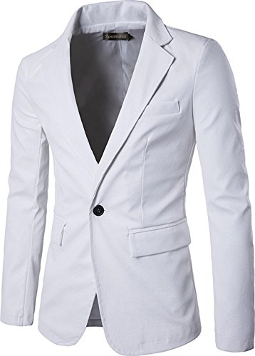 Sportides Mens Faux Leather Fashion Slim Fit One Button Blazer Jacket JZA004