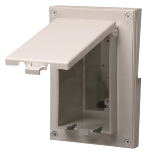 Arlington DBVR131W-1 Vertical Electrical Box with Weatherproof Cover for Rigid Siding, White, 1/4-Inch or 5/16-Inch Lap by Arlington Industries -