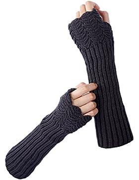TININNA Invierno cálido Lindo Guantes Mujeres Moda,color puro Guantes sin dedos del brazo de la muñeca calentador...