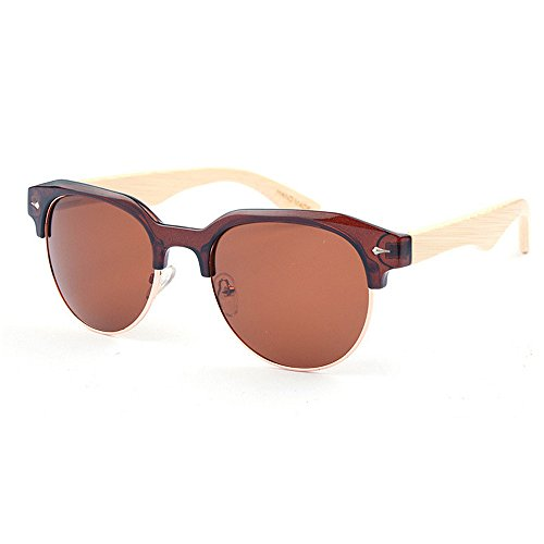 Yiph-Sunglass Sonnenbrillen Mode Unregelmäßige halbrandlose polarisierte Bambus Sonnenbrille für männer Frauen Spiegel objektiv uv-Schutz (Farbe : Braun)