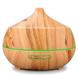 Tenswall Aroma Diffuser 400ml Luftbefeuchter Oil Düfte Humidifier Holzmaserung LED mit 7 Farben für für Yoga Salon Spa Wohn-, Schlaf-, Bade- oder Kinderzimmer Büro