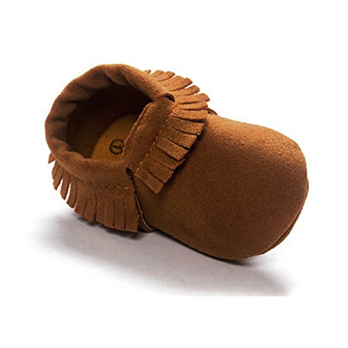 Babyschuhe Jungen Mädchen Krabbelschuhe Krabbelpuschen Hausschuhe Pantoffel Krippe Schuhe mit Quaste - Grau, 12cm Braun
