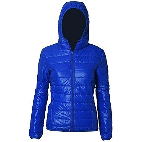 Koly Delgado caliente de invierno Color caramelo Slim mujer abajo chaqueta (Azul, M)