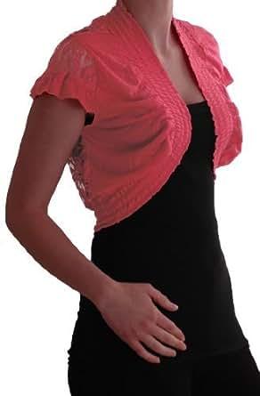 EyeCatch - Melissa Stretch Lace Jersey Ladies Bolero Shrug One Size Coral