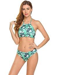 9f09d32b6 Indove Women Sexy Swimsuits Bathing Suit High Neck Halter Padded Bikini Two  Piece Swimwear Set