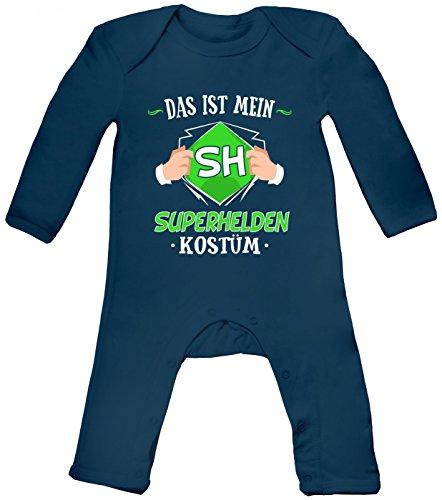 Shirt Happenz Kostüm Superheld Babybody | Verkleidung | Karneval | Fasching | Langarm | Langärmliger Strampler, Farbe:Blau (Nautical Navy BZ13);Größe:6-12 Monate (Wonder Woman Kostüm Baby)