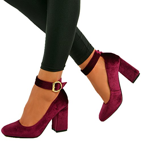 Cucu Fashion ,  Damen Knöchel-Riemchen burgundy velvet