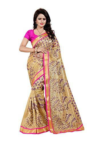 SATYAM WEAVES WOMEN'S ETHNIC WEAR EMBROIDERY NET JARI PURPLE COLOUR SAREE WITH...