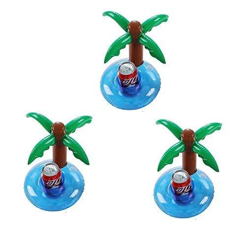 Vercrown aufblasbare Getränkehalter trinken schweben inhaber schwimmen pool party bierdeckel palme becherhalter schwimmt floß beach party spielzeug -3 packung