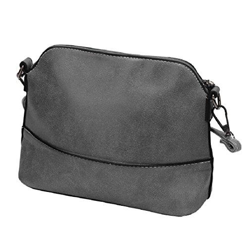 Saingace Frauen scheuern Schulter-Beutel-Handtasche PU-lederner Geldbeutel-Schultaschen-Kurier-Beutel Handtaschen Schultertasche Freizeitrucksack Tasche Rucksäcke Grau