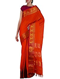 Unnati Silks Women Handloom Orange Pure Narayanpet Cotton Plain Saree With Blouse Piece, Tremendous Woven Stripes...