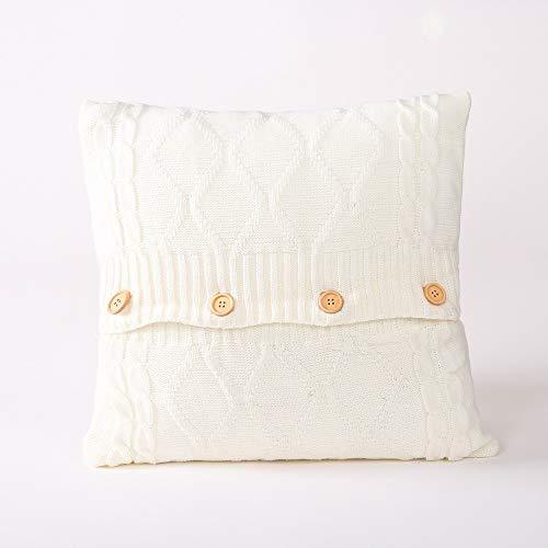 FL Bygo Baumwolle gestrickte Kissenbezug Muster Sofa Square warme Kissenbezug einfaches Zuhause mit Knopf,White