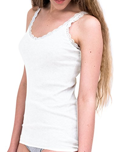 Lady bella lingerie c3114 - confezione 2 pezzi canottiera donna cotone intimo elegante con spallina in pizzo bianco in morbido cotone elasticizzato - medium (taglia 42)