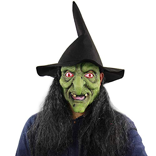 KQ Horror Halloween GrüNer Kopf Graues Haar Hexe Maske BeäNgstigend Cosplay Haunted House - Kleine Hexe Teen Kostüm