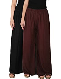Palazzo - Culture The Dignity Women's Rayon Solid Palazzo Ethnic Pants Palazzo Ethnic Trousers Combo Of 2 - Black...