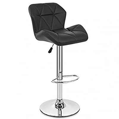 Neotechs® Black Diamond Chrome Base Gas Lift Swivel Faux Leather Kitchen Breakfast Bar Stool - cheap UK light store.