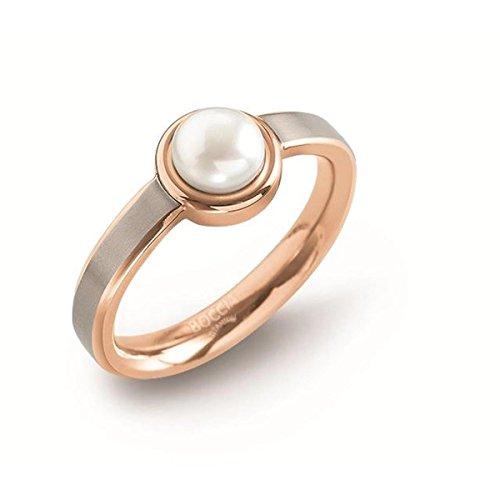Boccia Damen-Ring Titan gebürstet Perle weiß Gr. 56 (17.8)-0137-0256
