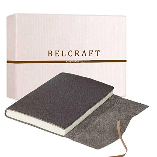 Capri mittelgroßes Notizbuch aus Leder, Handgearbeitet in klassischem Italienischem Stil, Geschenkschachtel inklusive, Tagebuch, Lederbuch (12x17 cm) Braun