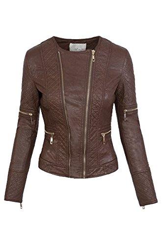 Donna Giacca In Similpelle, effetto pelle bikerkjacke Jacket S-XL marrone S
