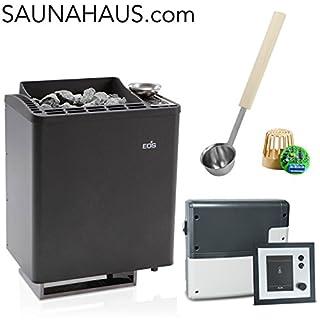 Saunaofen EOS Bi-O-Tec incl. Emotec H Saunasteuergeraet Bio EOS, inkl. Feuchterfüller EOS F2 und exklusive Edelstahl-Saunakelle von ARTVION (9.0 kW)