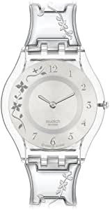 swatch ladies climber flowery silver dial bracelet watch. Black Bedroom Furniture Sets. Home Design Ideas