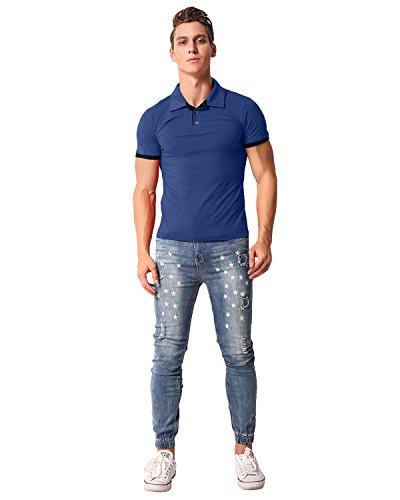 MODCHOK Herren T-Shirt Shirt Poloshirt Kurzarm Hemd Knopfleiste Slim Fit Blau