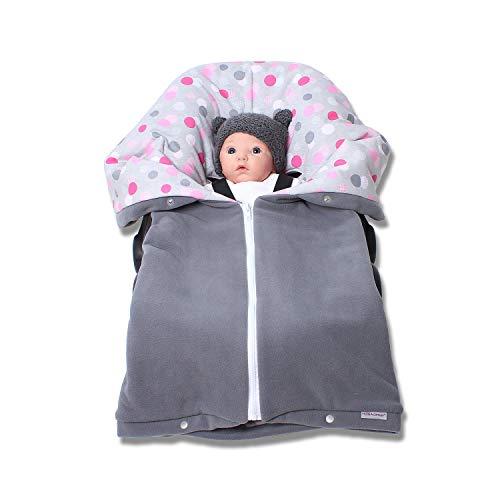 Autositzdecke, Babyschalendecke, Baby Fußsack, Kindersitzdecke, Buggy Decke von HOBEA-Germany im Design: grau mit Punkten