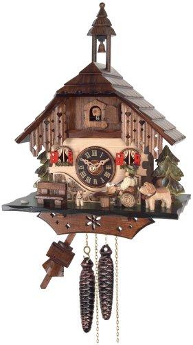 River City Clocks One Day Cottage Kuckucksuhr, biertrinkers hebt Tasse - Cottage, Cuckoo Clock